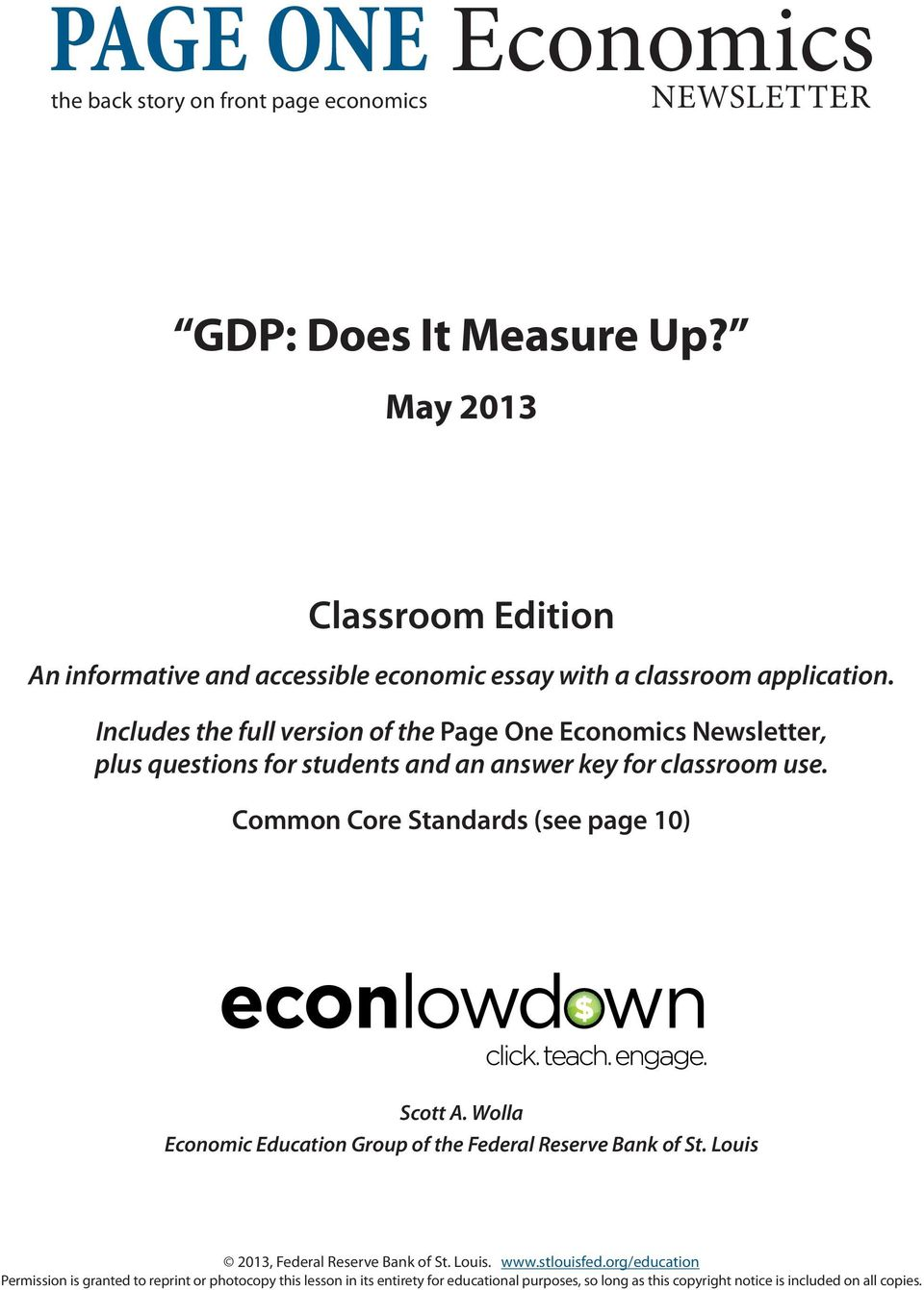 Includes the full version of the Page One Economics Newsletter, plus questions for students and an answer key for classroom use.