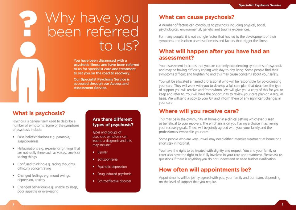 g. unable to sleep, poor appetite or over-eating You have been diagnosed with a psychotic illness and have been referred to us for specialist care and treatment to set you on the road to recovery.
