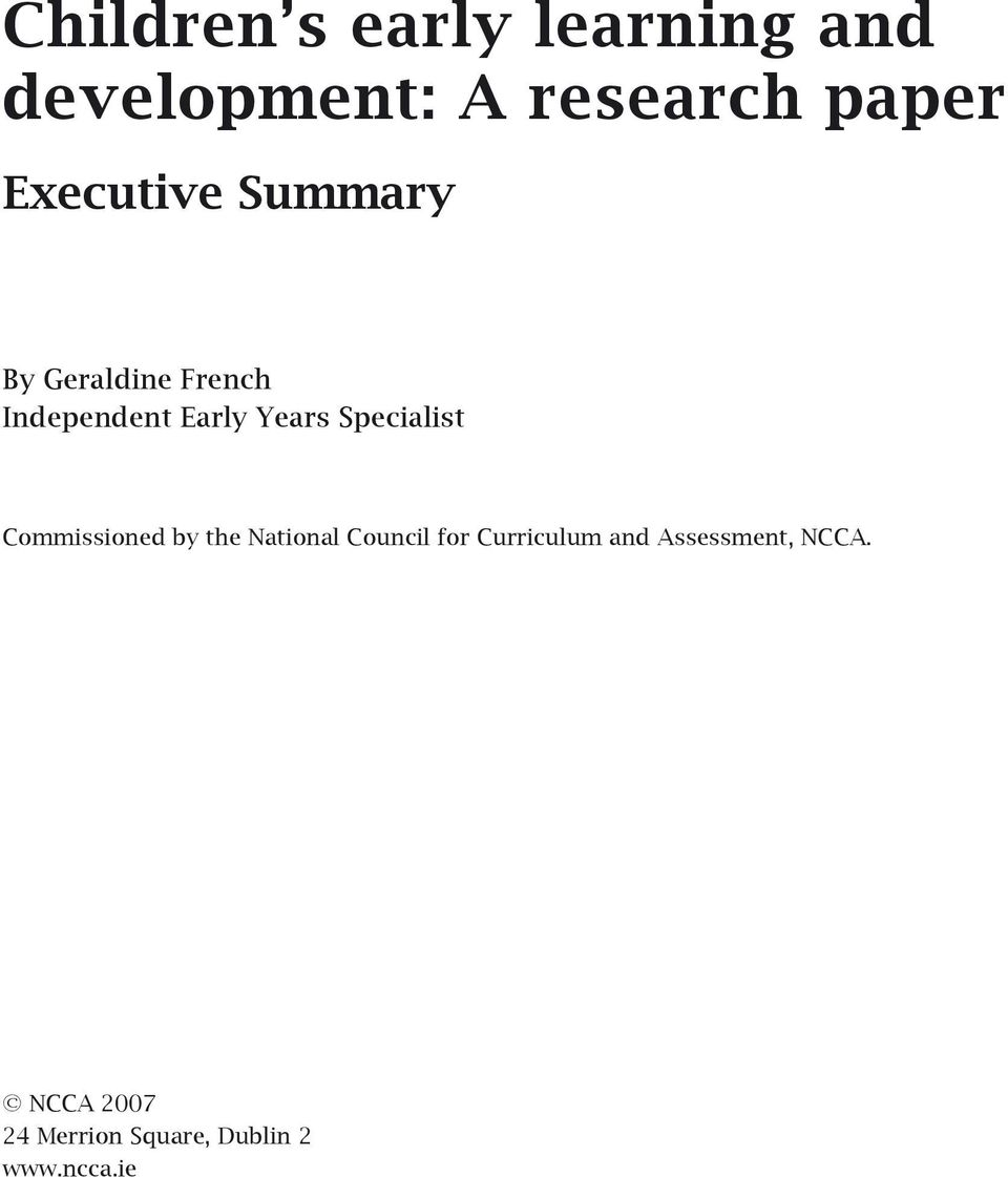 research paper outline early childhood education