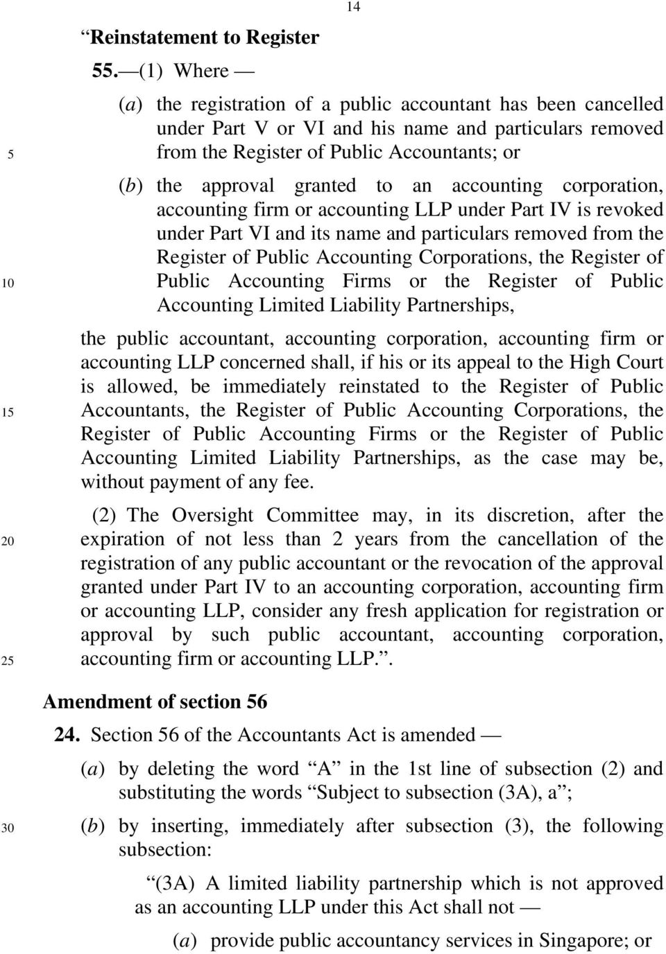 to an accounting corporation, accounting firm or accounting LLP under Part IV is revoked under Part VI and its name and particulars removed from the Register of Public Accounting Corporations, the
