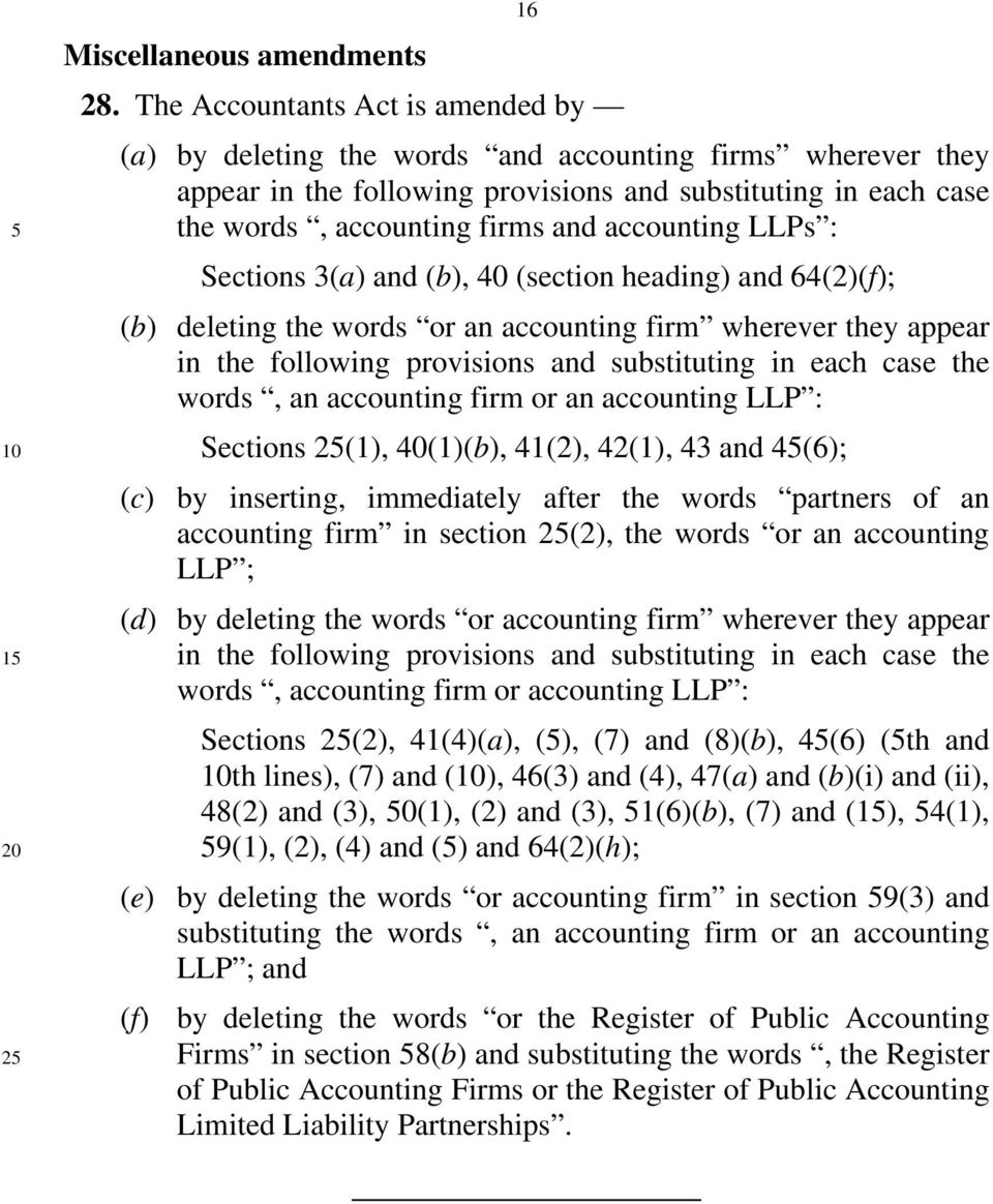 accounting LLPs : Sections 3(a) and (b), 40 (section heading) and 64(2)(f); (b) deleting the words or an accounting firm wherever they appear in the following provisions and substituting in each case