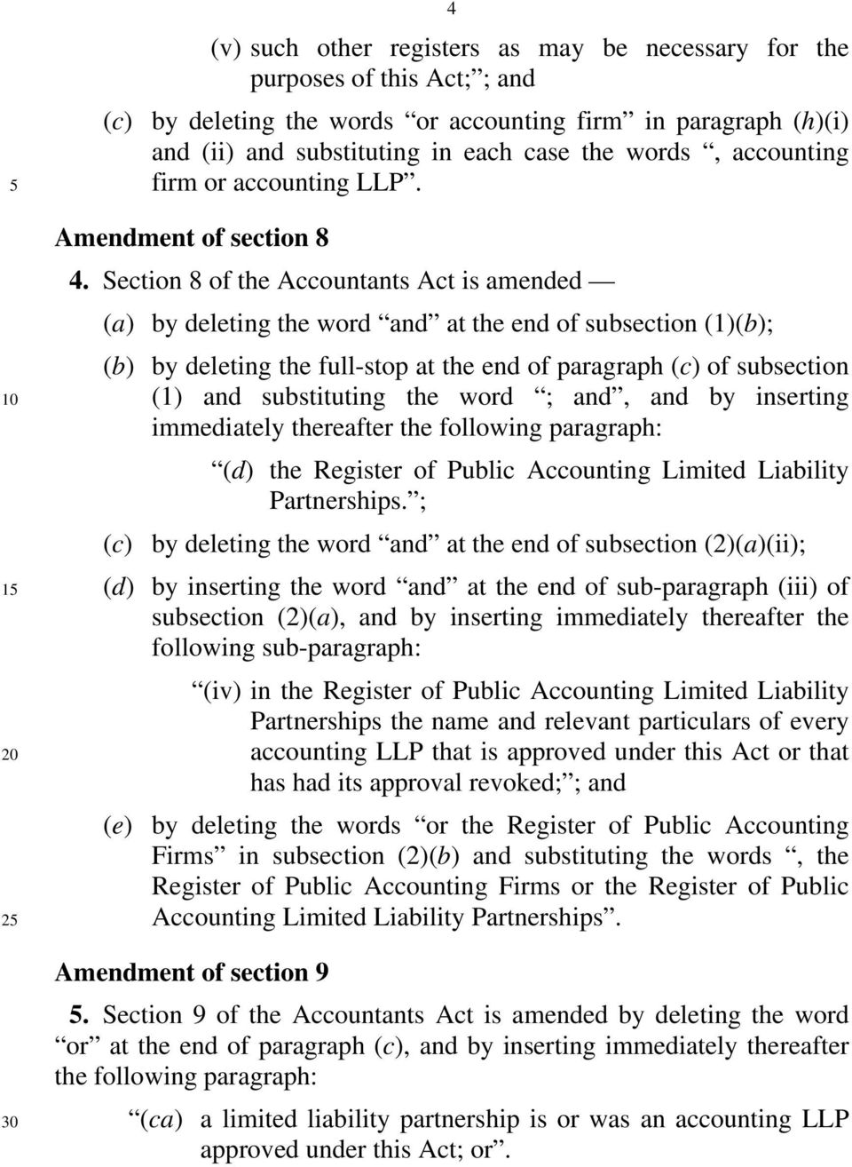Section 8 of the Accountants Act is amended (a) by deleting the word and at the end of subsection (1)(b); (b) by deleting the full-stop at the end of paragraph (c) of subsection (1) and substituting
