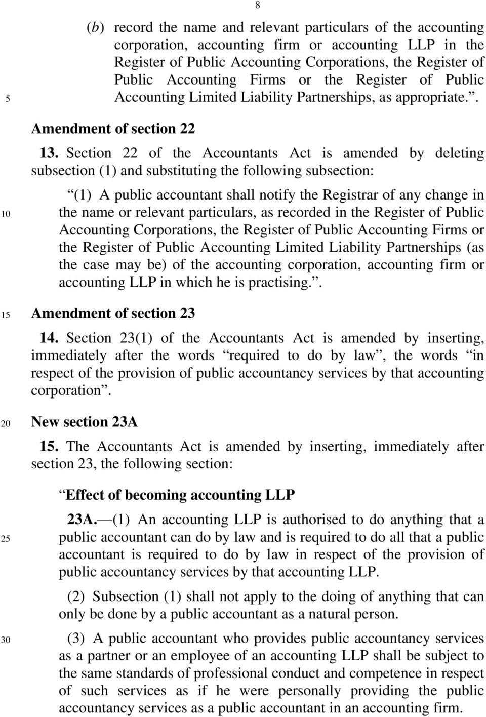 Section 22 of the Accountants Act is amended by deleting subsection (1) and substituting the following subsection: (1) A public accountant shall notify the Registrar of any change in the name or