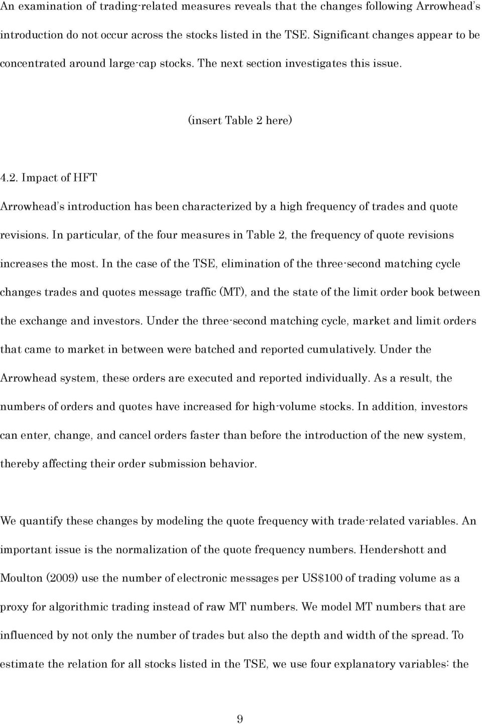 . Impact of HFT Arrowhead s introduction has been characterized by a high frequency of trades and quote revisions.
