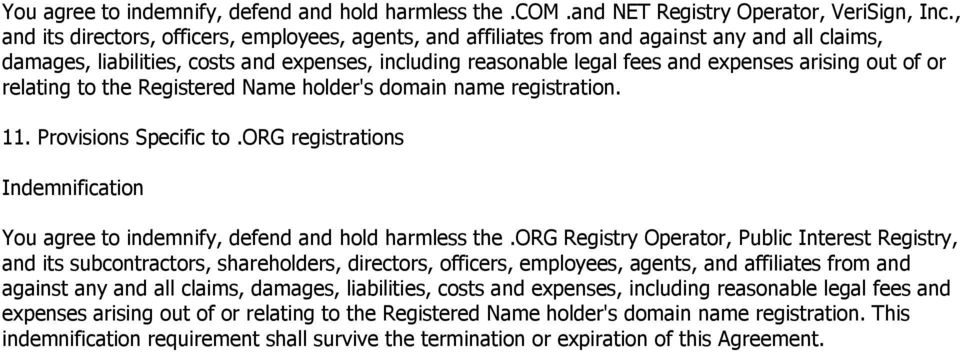 out of or relating to the Registered Name holder's domain name registration. 11. Provisions Specific to.org registrations Indemnification You agree to indemnify, defend and hold harmless the.