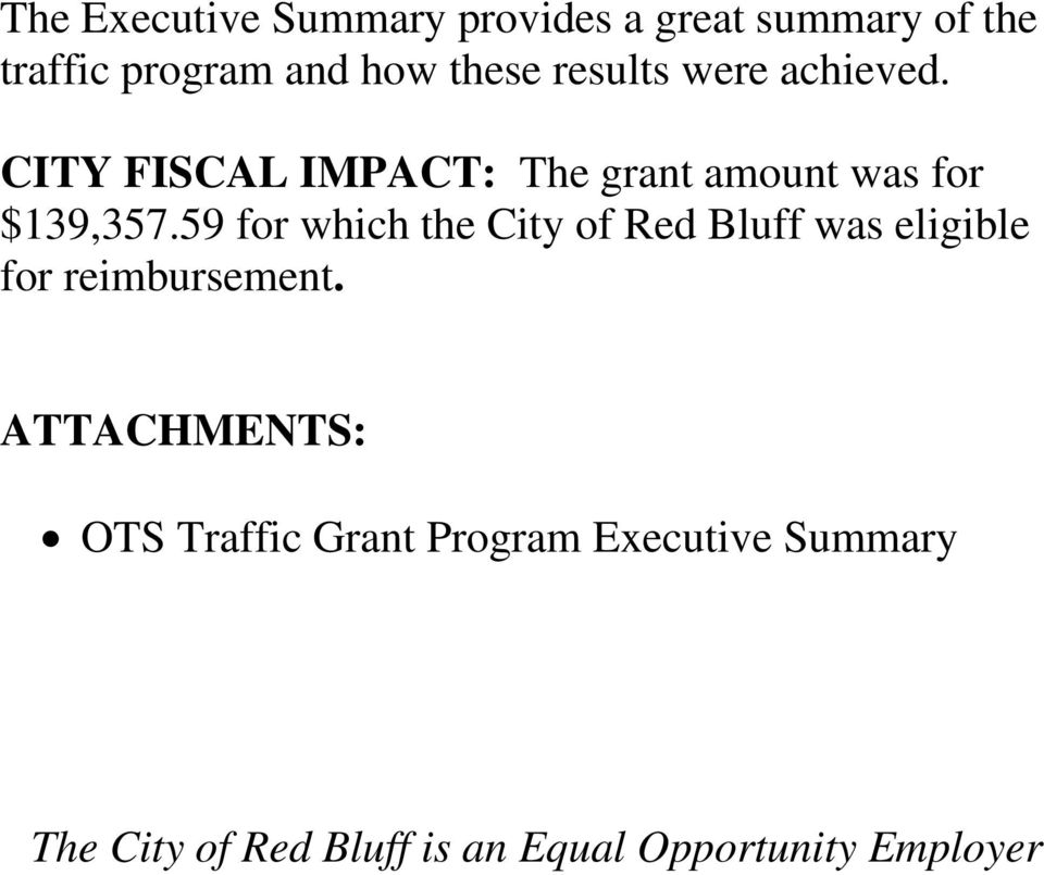 59 for which the City of Red Bluff was eligible for reimbursement.