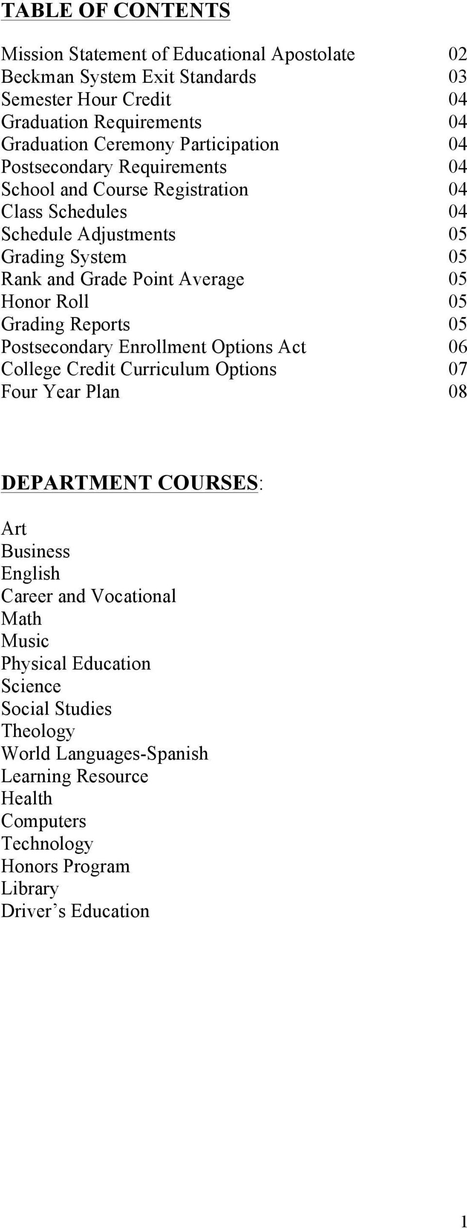 Honor Roll 05 Grading Reports 05 Postsecondary Enrollment Options Act 06 College Credit Curriculum Options 07 Four Year Plan 08 DEPARTMENT COURSES: Art Business English Career