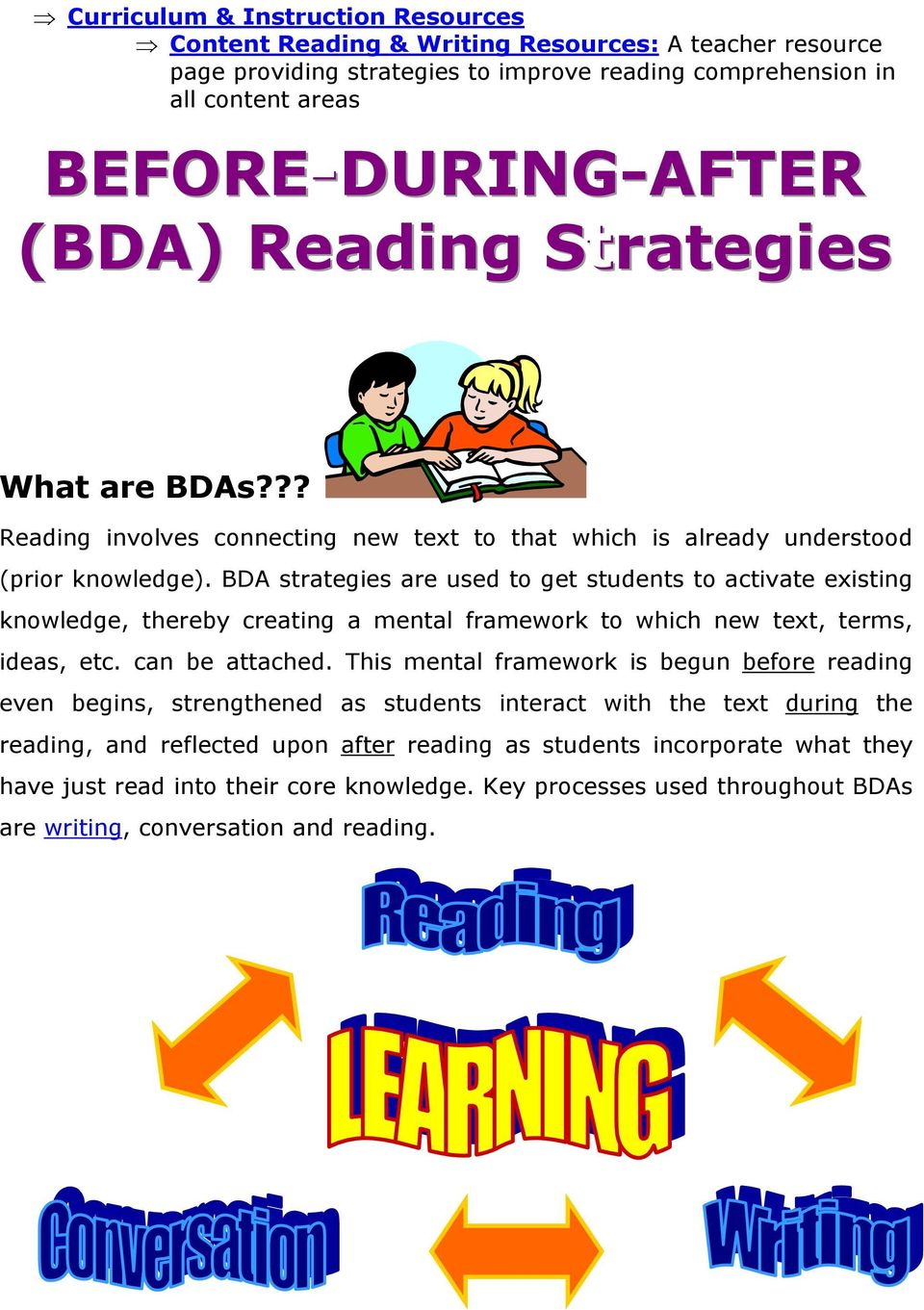 BDA strategies are used to get students to activate existing knowledge, thereby creating a mental framework to which new text, terms, ideas, etc. can be attached.