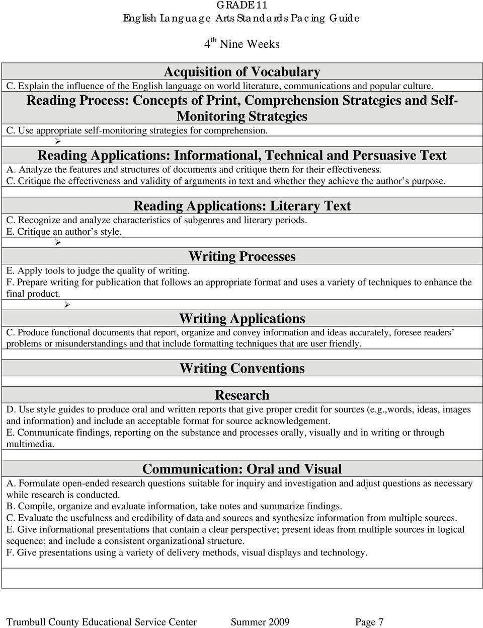 Critique the effectiveness and validity of arguments in text and whether they achieve the author s purpose. C. Recognize and analyze characteristics of subgenres and literary periods. E.