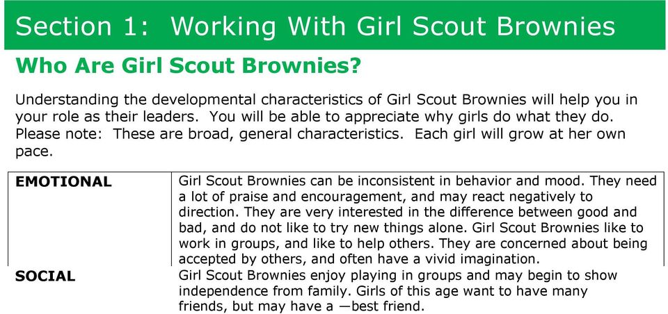 EMOTIONAL Girl Scout Brownies can be inconsistent in behavior and mood. They need a lot of praise and encouragement, and may react negatively to direction.