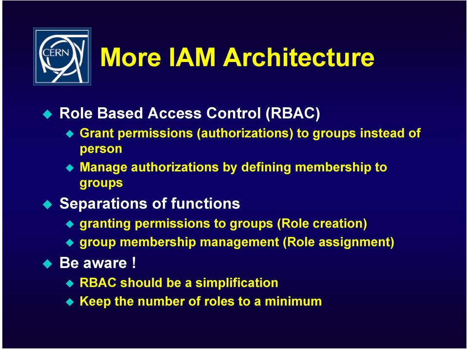 of functions granting permissions to groups (Role creation) group membership management