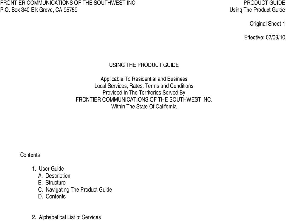 FRONTIER COMMUNICATIONS OF THE SOUTHWEST INC. Within The State Of California Contents 1.