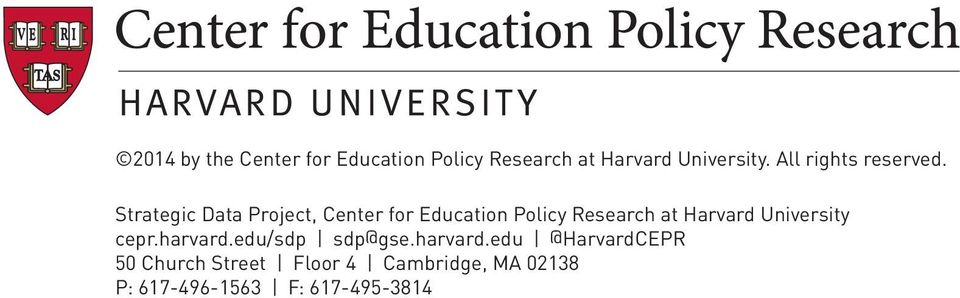 Strategic Data Project, Center for Education Policy Research at Harvard