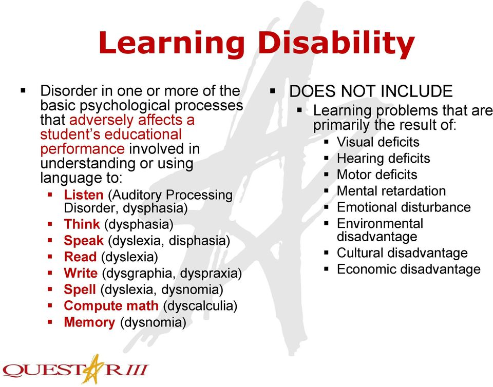 (dysgraphia, dyspraxia) Spell (dyslexia, dysnomia) Compute math (dyscalculia) Memory (dysnomia) DOES NOT INCLUDE Learning problems that are primarily the