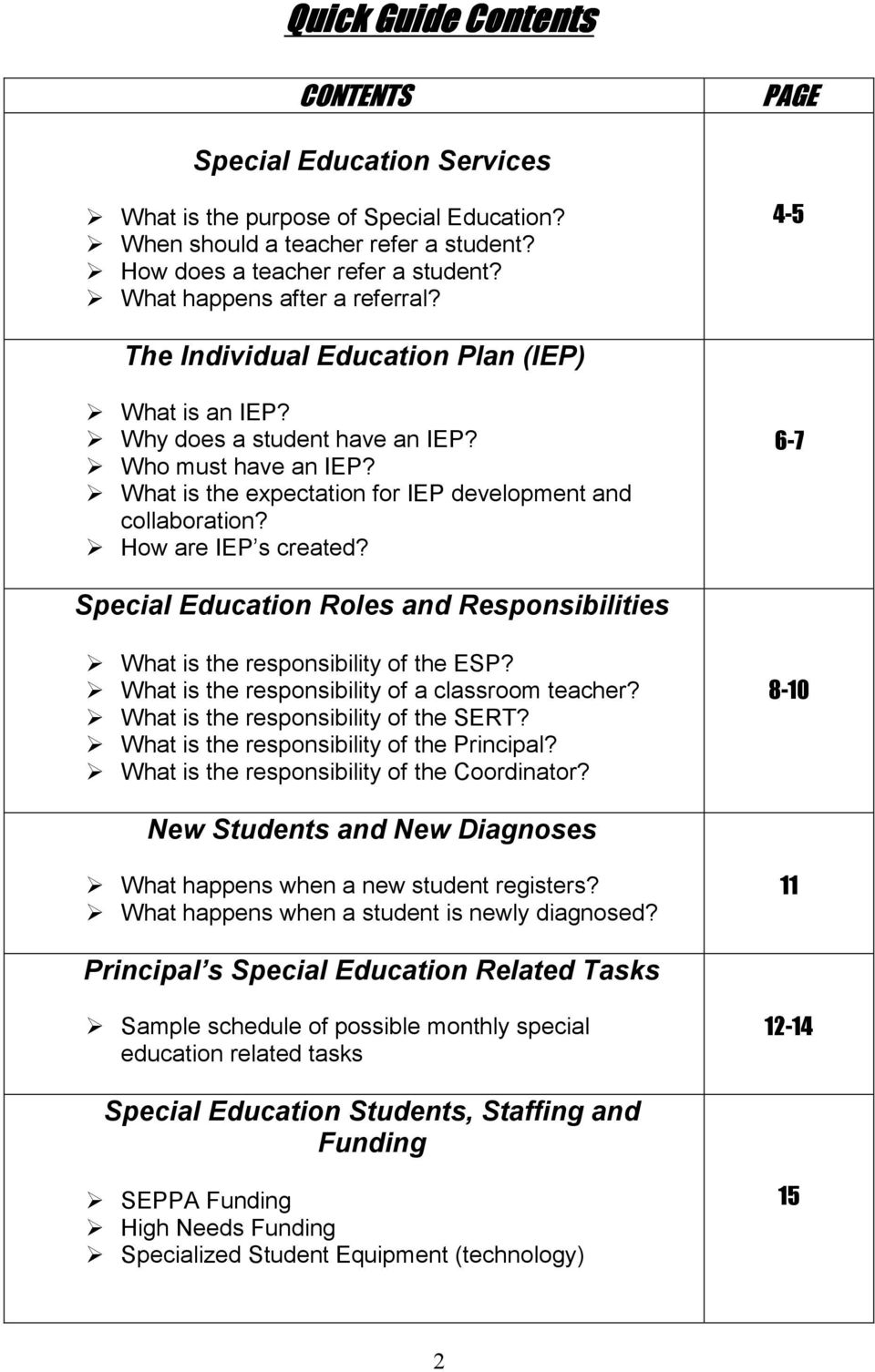What is the expectation for IEP development and collaboration? How are IEP s created? 6-7 Special Education Roles and Responsibilities What is the responsibility of the ESP?
