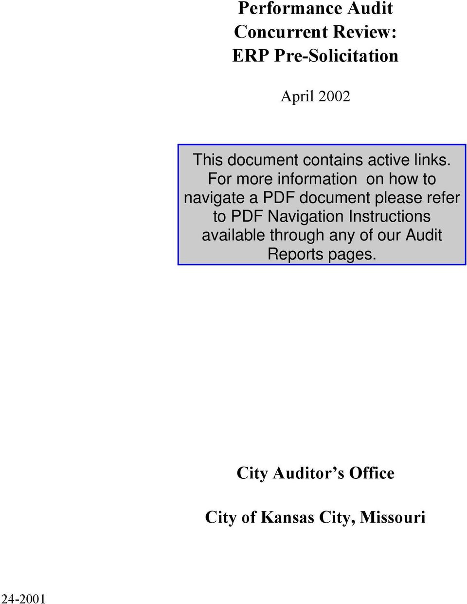 April 2002 City Auditor s