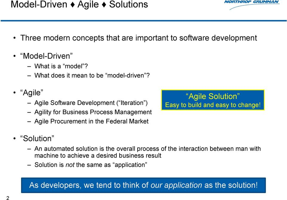 Agile Agile Software Development ( Iteration ) Agility for Business Process Management Agile Procurement in the Federal Market Agile Solution