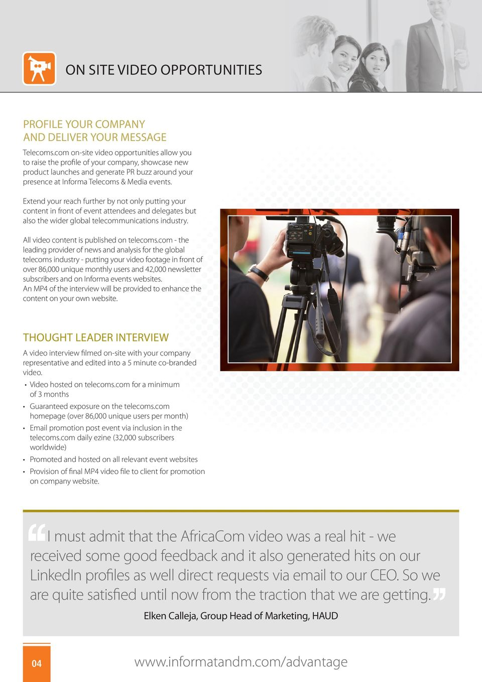 Extend your reach further by not only putting your content in front of event attendees and delegates but also the wider global telecommunications industry. All video content is published on telecoms.
