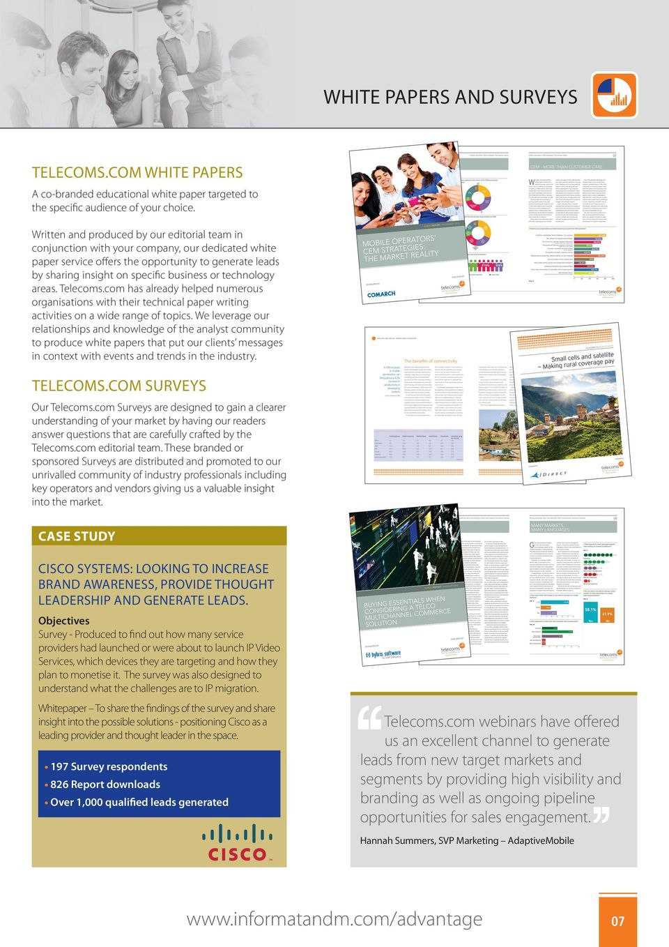 technology areas. Telecoms.com has already helped numerous organisations with their technical paper writing activities on a wide range of topics.