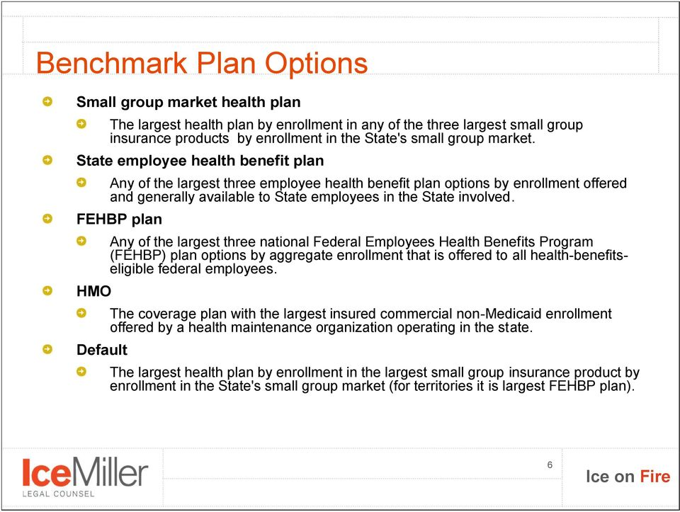 FEHBP plan HMO Default Any of the largest three national Federal Employees Health Benefits Program (FEHBP) plan options by aggregate enrollment that is offered to all health-benefitseligible federal