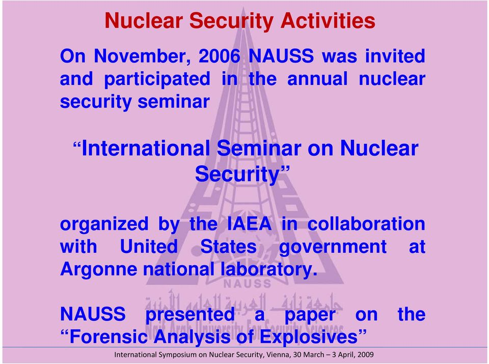 organized by the IAEA in collaboration with United States government at Argonne