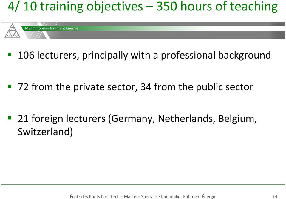 public sector 21 foreign lecturers (Germany, Netherlands, Belgium,