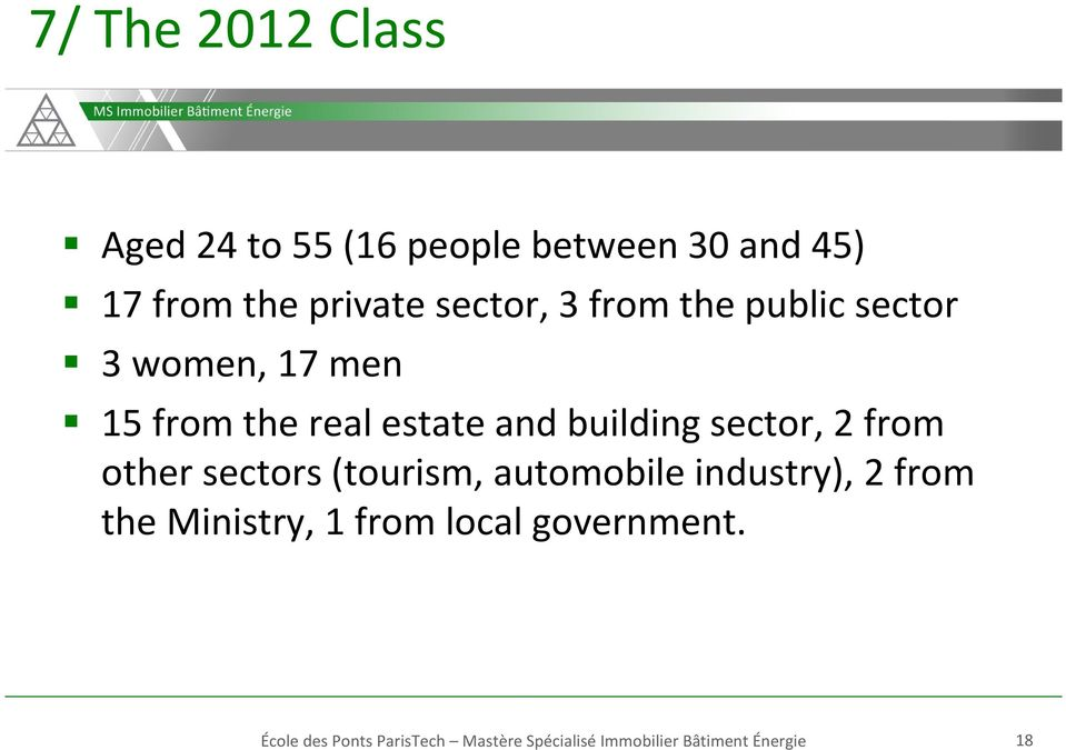 sector, 2 from other sectors (tourism, automobile industry), 2 from the Ministry, 1