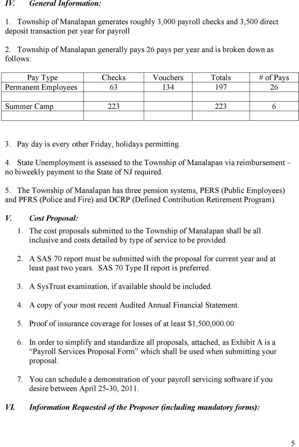 Pay day is every other Friday, holidays permitting. 4. State Unemployment is assessed to the Township of Manalapan via reimbursement no biweekly payment to the State of NJ required. 5.