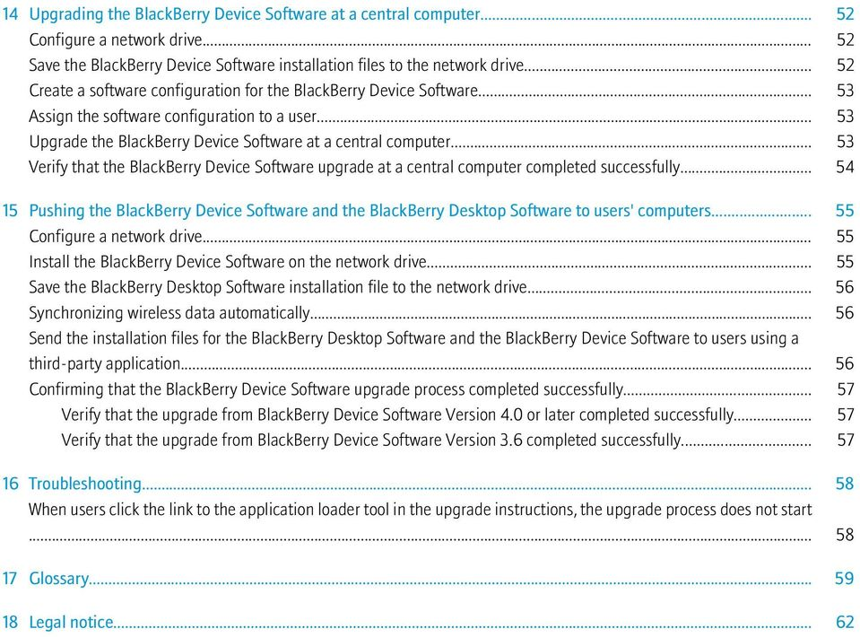 .. 53 Verify that the BlackBerry Device Software upgrade at a central computer completed successfully.