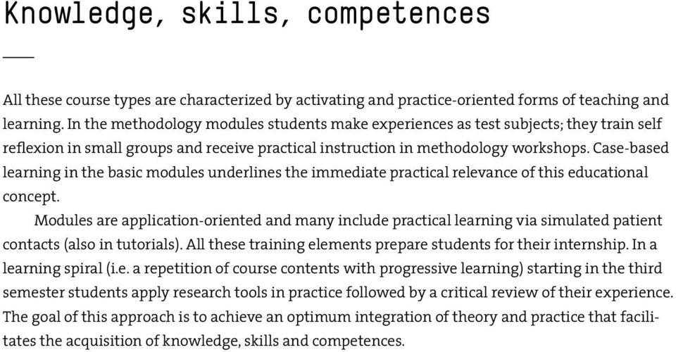 Case-based learning in the basic modules underlines the immediate practical relevance of this educational concept.