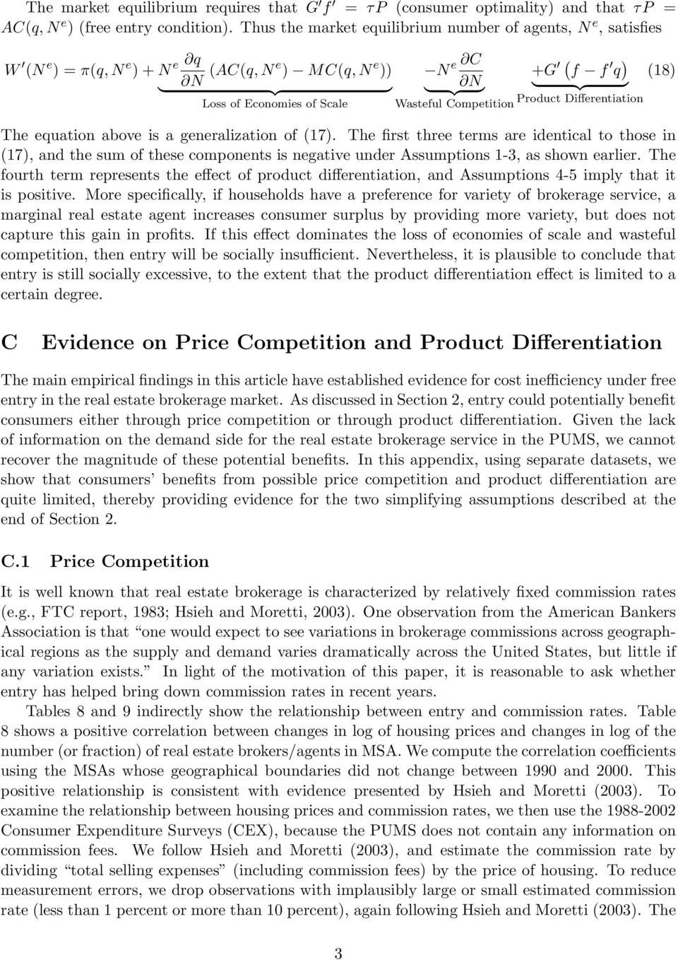 Competition Product Differentiation The equation above is a generalization of (17).
