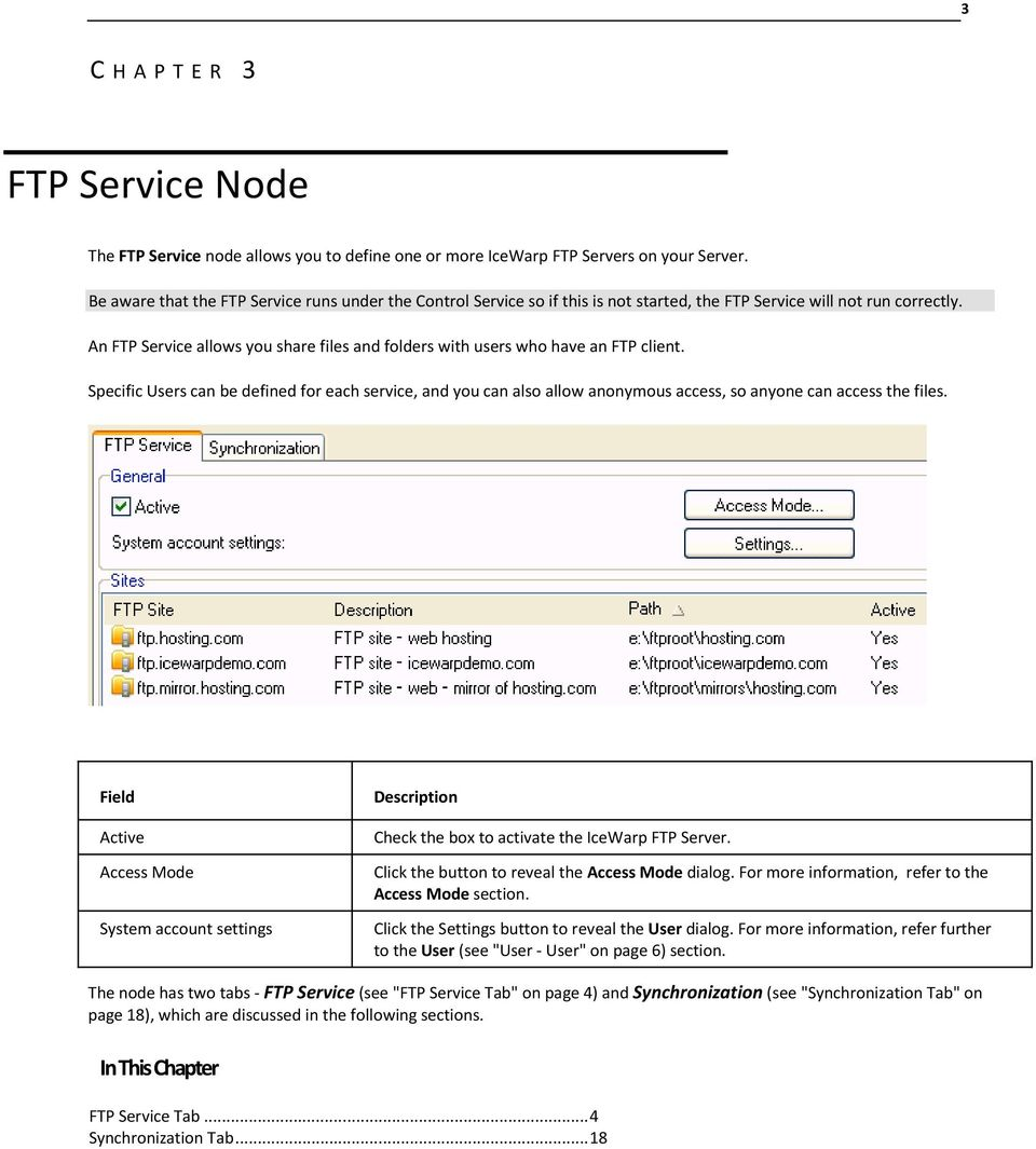An FTP Service allows you share files and folders with users who have an FTP client.