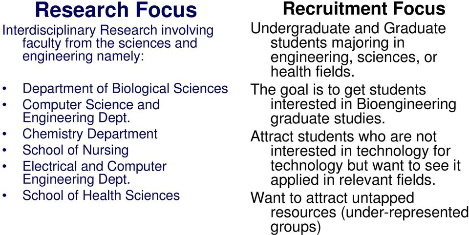 School of Health Sciences Recruitment Focus Undergraduate and Graduate students majoring in engineering, sciences, or health fields.
