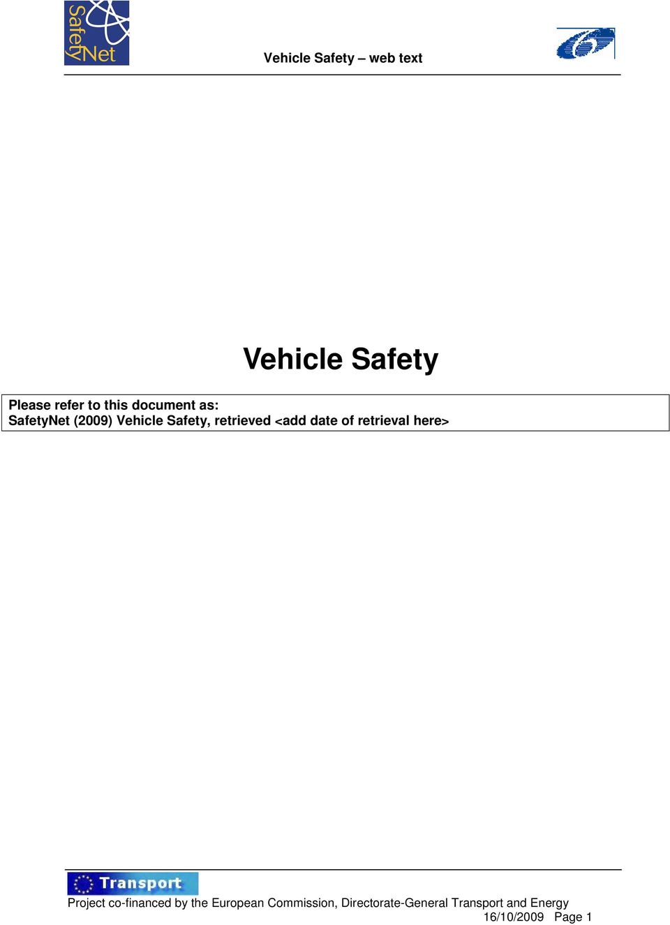 Vehicle Safety, retrieved <add