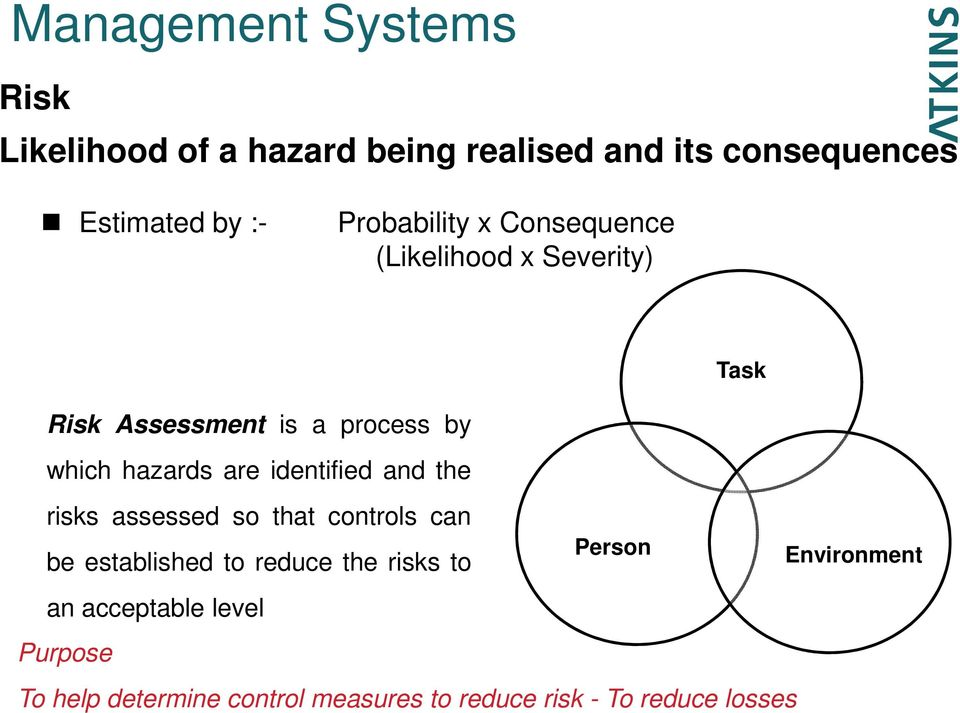 are identified and the risks assessed so that controls can be established to reduce the risks to an