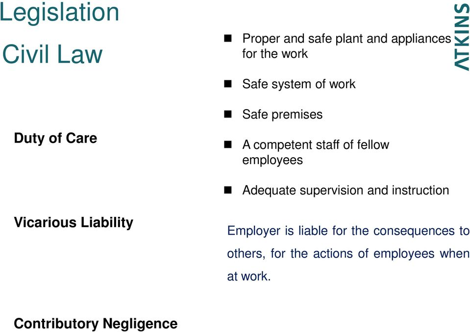 Adequate supervision and instruction Vicarious Liability Employer is liable for