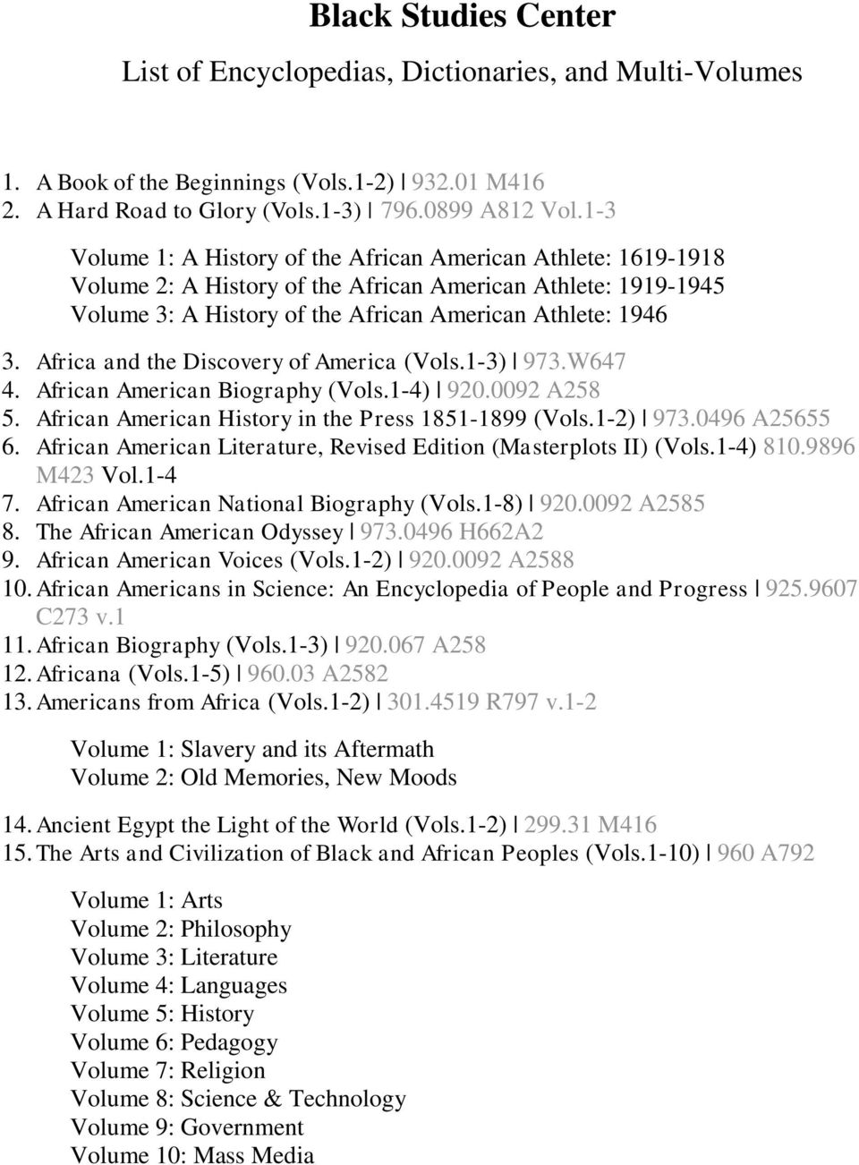 Africa and the Discovery of America (Vols.1-3) 973.W647 4. African American Biography (Vols.1-4) 920.0092 A258 5. African American History in the Press 1851-1899 (Vols.1-2) 973.0496 A25655 6.