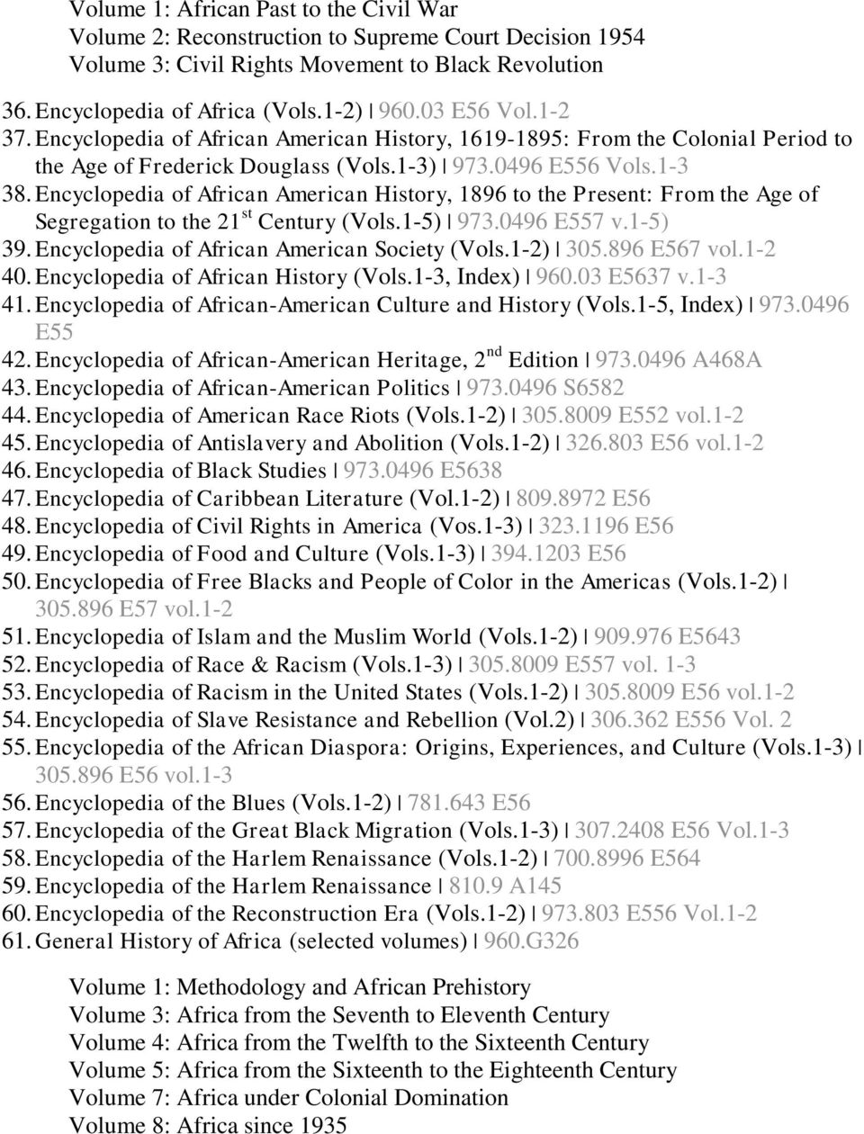 Encyclopedia of African American History, 1896 to the Present: From the Age of Segregation to the 21 st Century (Vols.1-5) 973.0496 E557 v.1-5) 39. Encyclopedia of African American Society (Vols.
