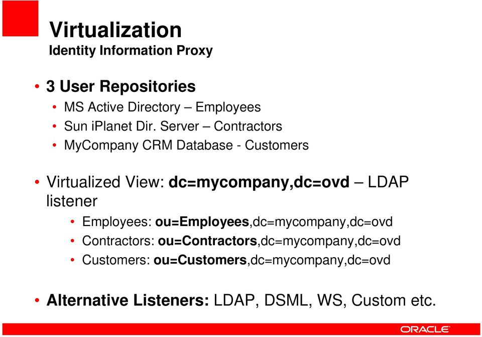 Server Contractors MyCompany CRM Database - Customers Virtualized View: dc=mycompany,dc=ovd LDAP