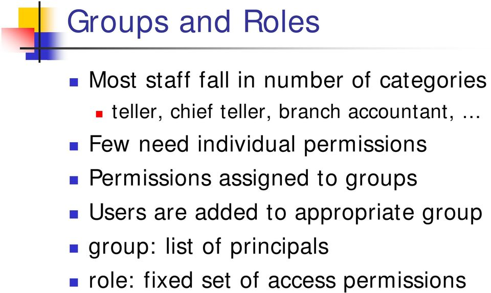 Permissions assigned to groups Users are added to appropriate