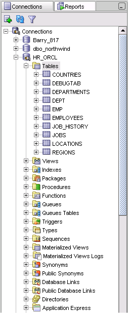 Creating and Browsing Objects Connection Navigator - Tree based object browser Context menu utilities Create and edit database objects Tables, Views, Indexes, Sequences Packages, Procedures,
