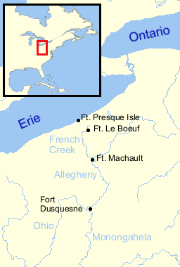 A dispute over land Figure 1. To control the Ohio Valley, the French built a string of forts from Lake Erie towards the Forks of the Ohio.