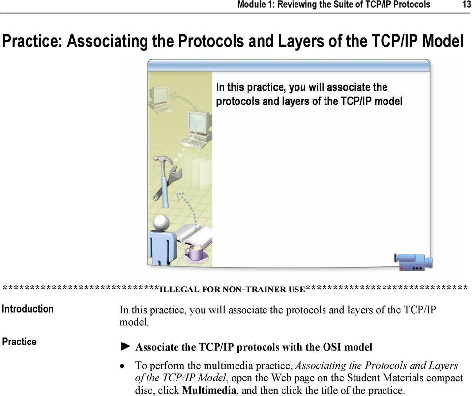 ! Associate the TCP/IP protocols with the OSI model To perform the multimedia practice, Associating the Protocols and