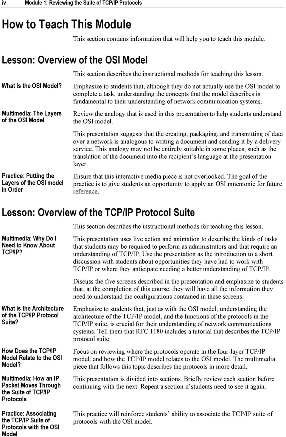 Multimedia: The Layers of the OSI Model Practice: Putting the Layers of the OSI model in Order This section describes the instructional methods for teaching this lesson.