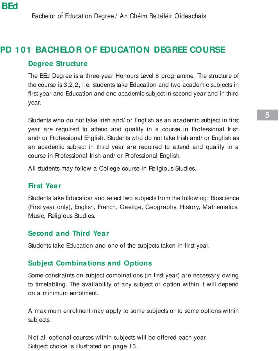Students who do not take Irish and/or English as an academic subject in third year are required to attend and qualify in a course in Professional Irish and/or Professional English.