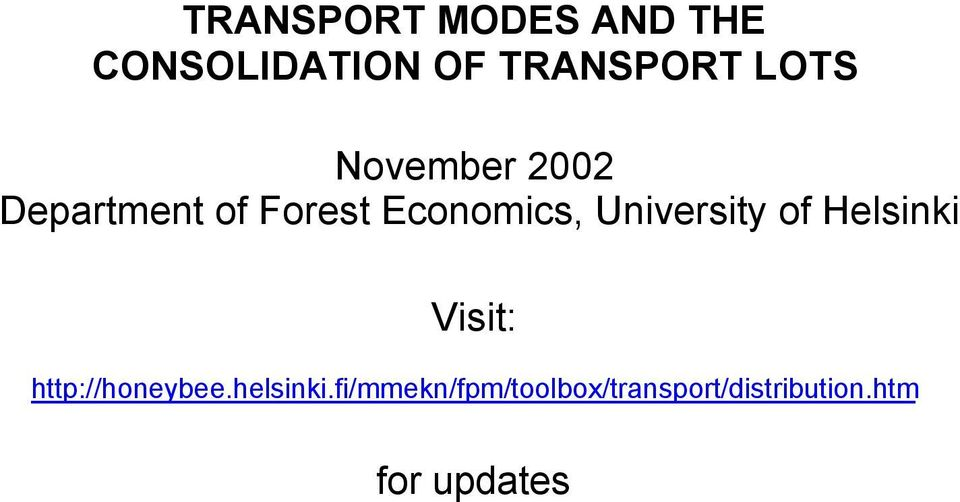 November 2002 Department of Forest