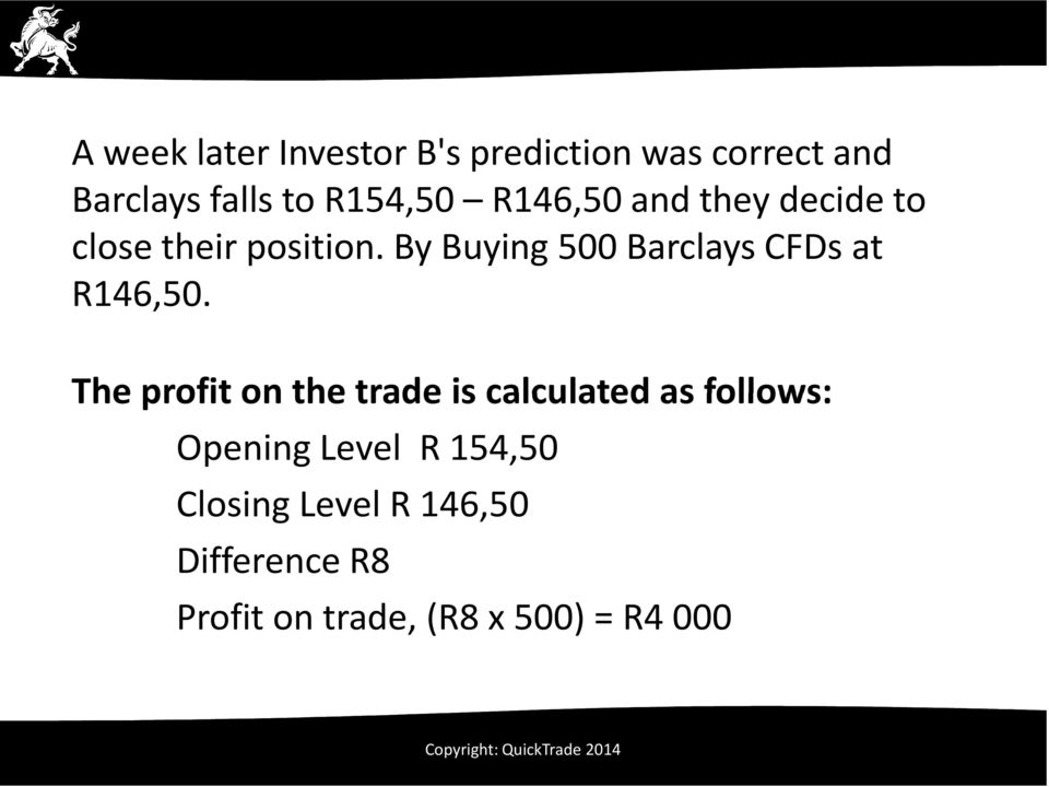 By Buying 500 Barclays CFDs at R146,50.