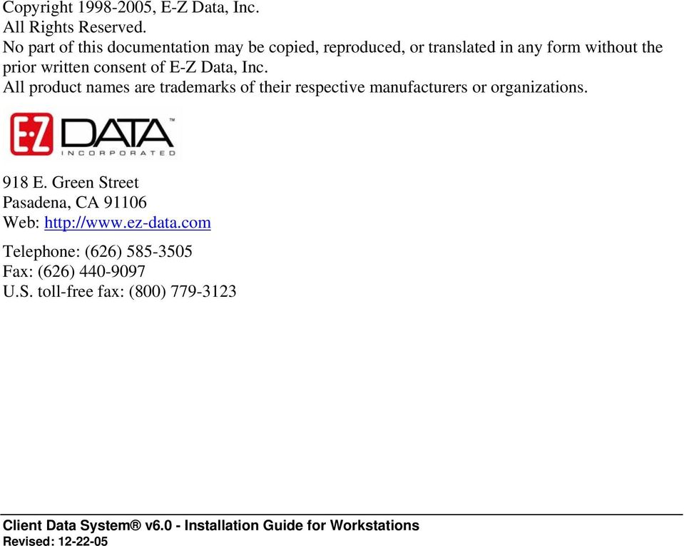written consent of E-Z Data, Inc.