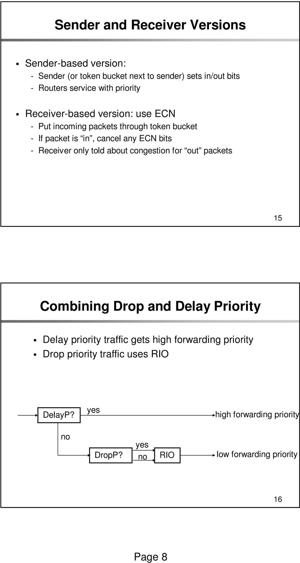 Receiver only told about congestion for out packets 15 Combining Drop and Delay Priority Delay priority traffic gets high
