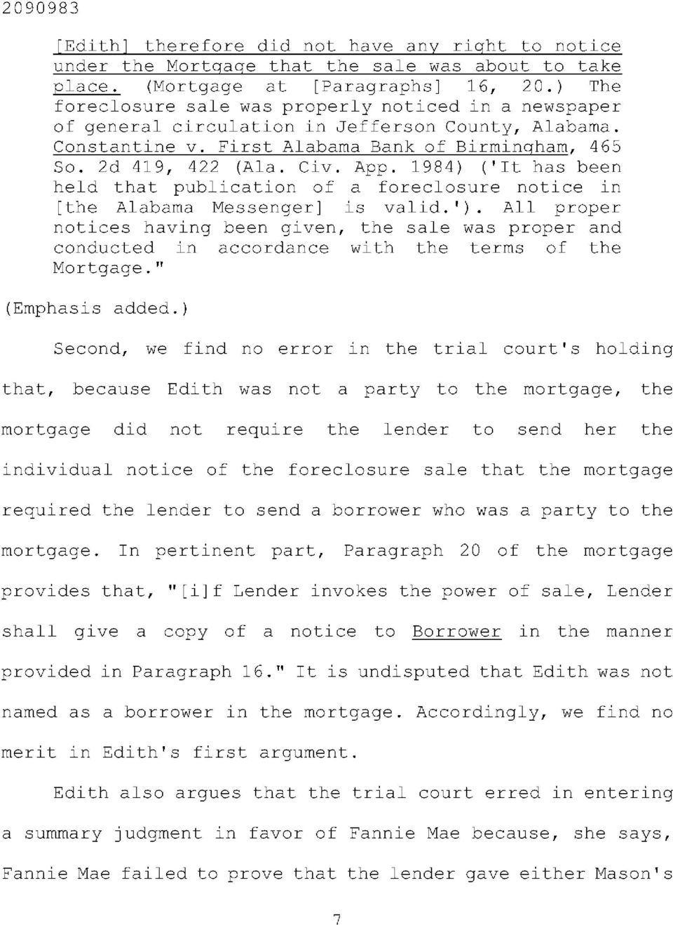1984) ('It has been held that publication of a foreclosure notice in [the Alabama Messenger] is valid.').
